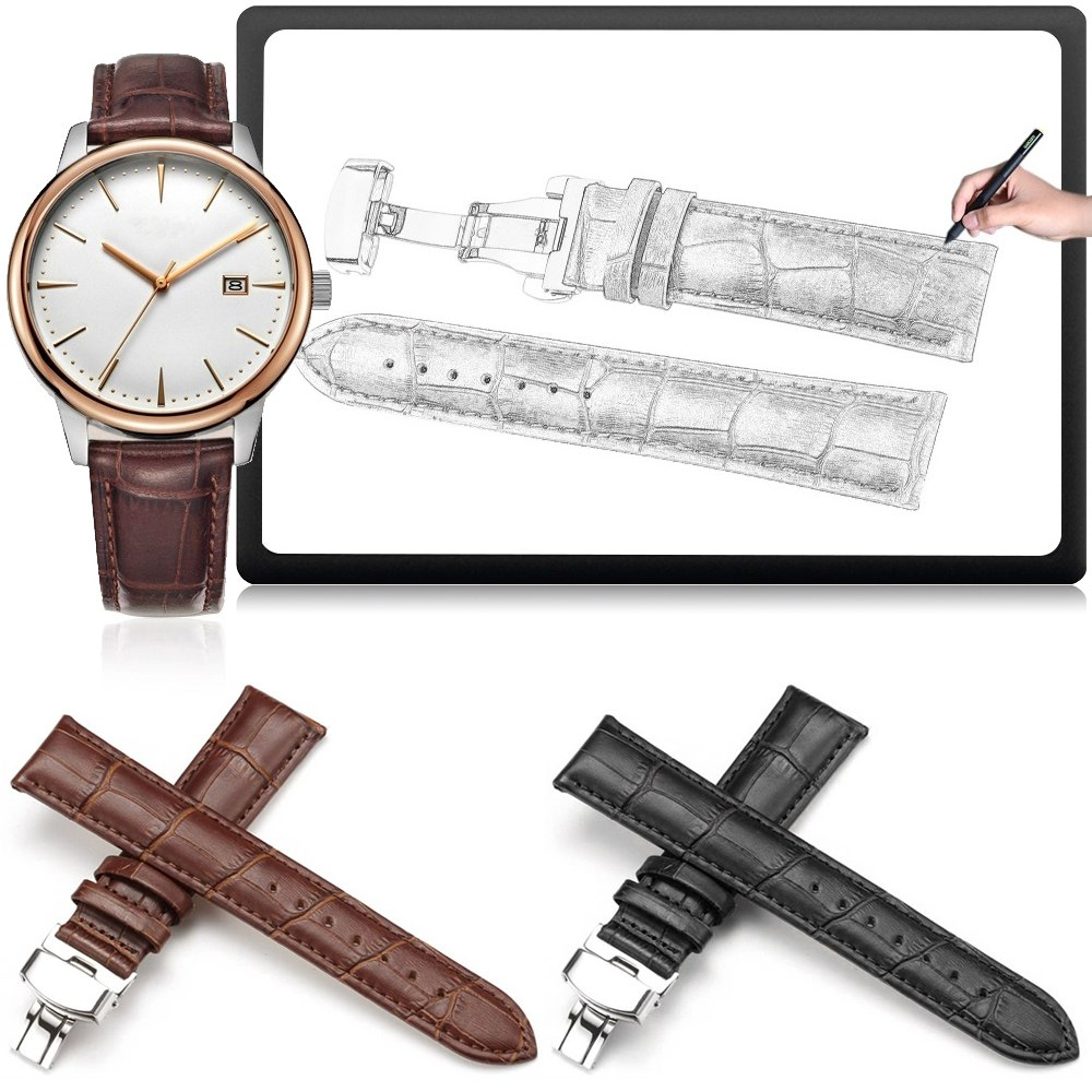 Butterfly buckle Genuine Leather Watch Band Strap