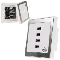 4 USB Ports Home Wall Charger Plate Outlet Panel Safety