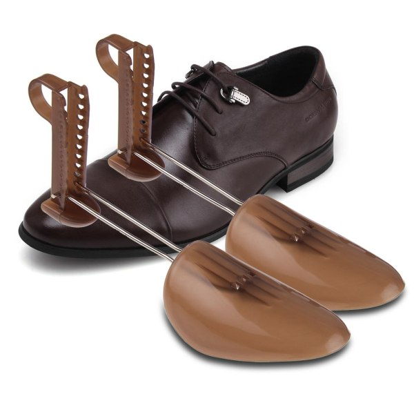 1 Pair Men Adjustable Shoe Trees Stretcher Expander Shaper Plastic Brown