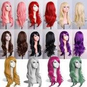women lady long hair wig curly