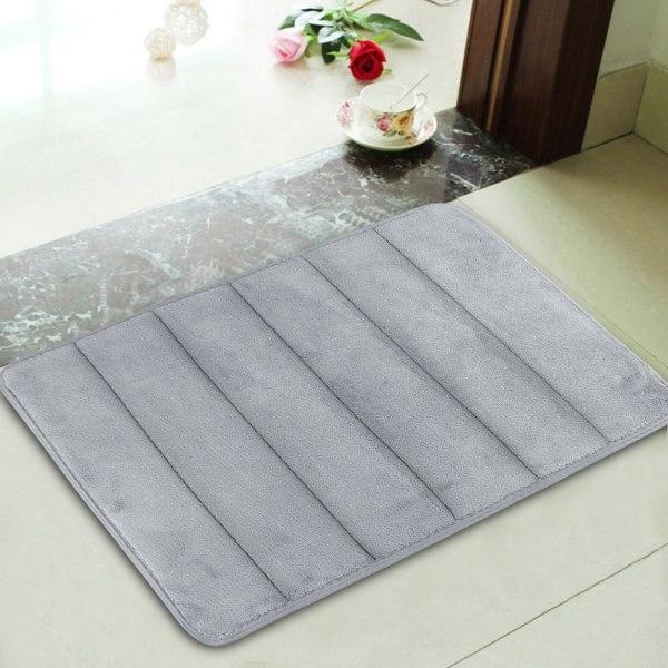 Memory Foam Bath Mats Bathroom Horizontal Stripes Rug -slip 17