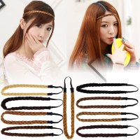 Women Girl Synthetic Hair Band Plaited Elastic Bohemia