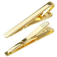 Fashion Men Metal Silver Gold Simple Necktie Tie Bar Clasp