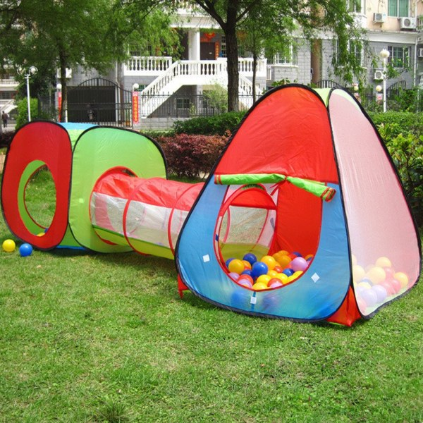 Childrens Toddlers Kids Pop Play Tent Tunnel Cubby House Indoor Playhouse