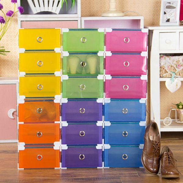Plastic Clear Shoe Storage Boxes Stackable Foldable Organizer Box Ladies Trainer