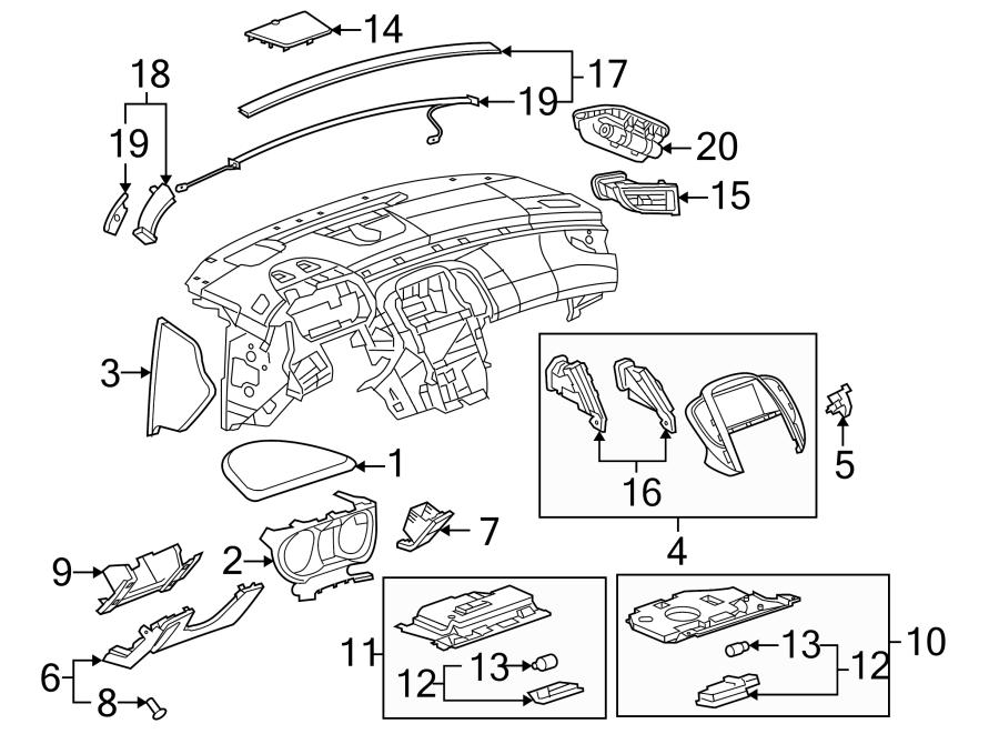 Buick LaCrosse Instrument Cluster Bezel. Titanium