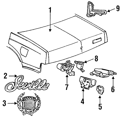 Cadillac Seville Deck Lid Latch. RELEASE, TOP, WSEMI