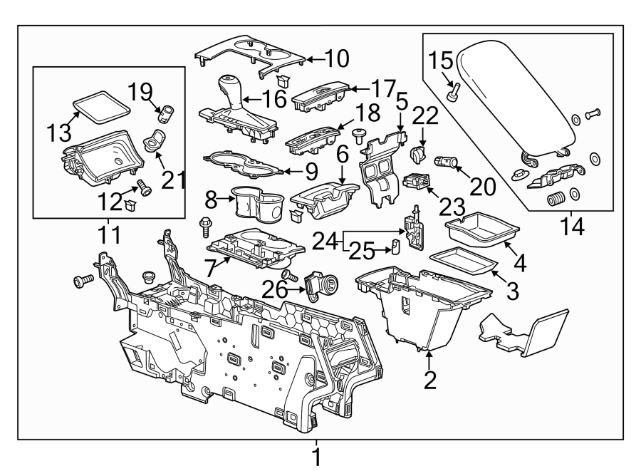Chevrolet Impala Console Compartment. UPPER, COMPONENTS
