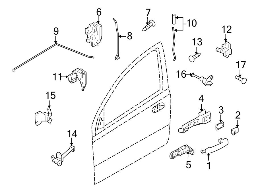 Chevrolet Impala Door Lock Operating Rod. SEDAN,. FRONT