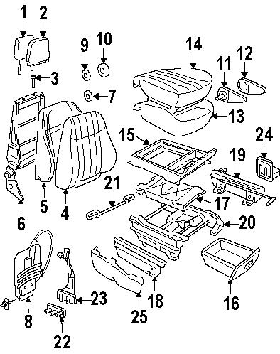 Oldsmobile Silhouette Seat Armrest. PASSENGER, Front