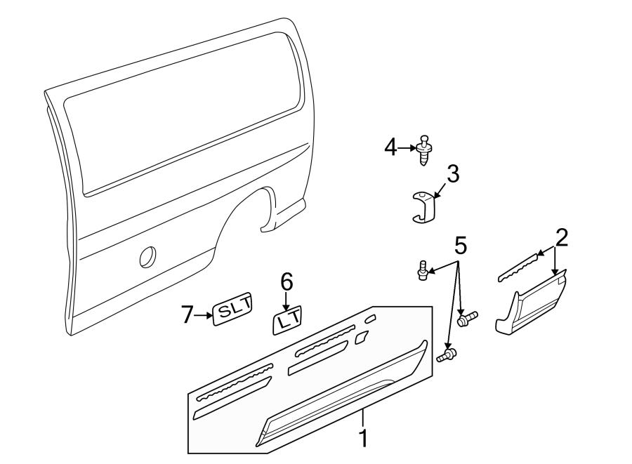 GMC Savana 2500 Side Body Panel Molding. DRIVER SIDE, W