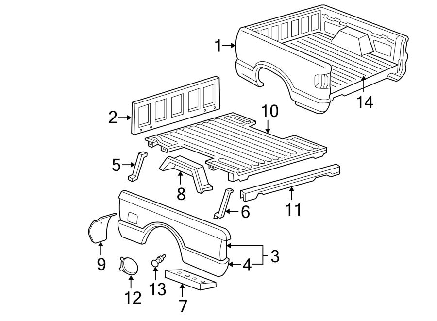Chevrolet S10 Truck Bed Panel. W/CREW CAB. W/O CREW CAB