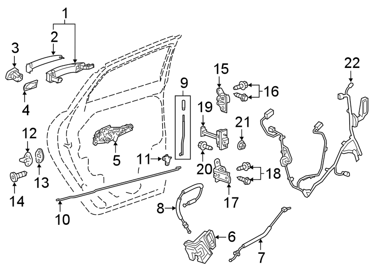 Chevrolet Blazer Door Wiring Harness. W/rear heated seat