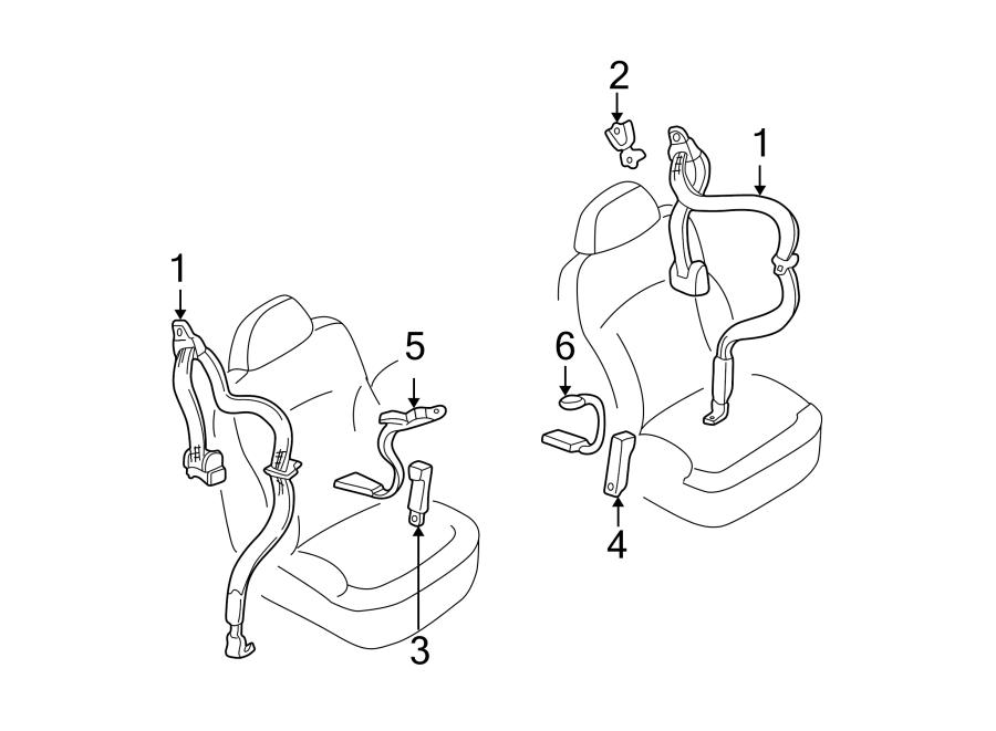 GMC Jimmy Seat Belt Receptacle. 1998-03 SPLIT BENCH SEAT