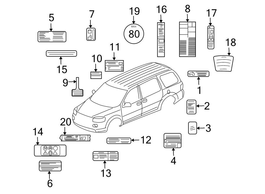 Chevrolet Uplander Caution Label (Rear). Power sliding