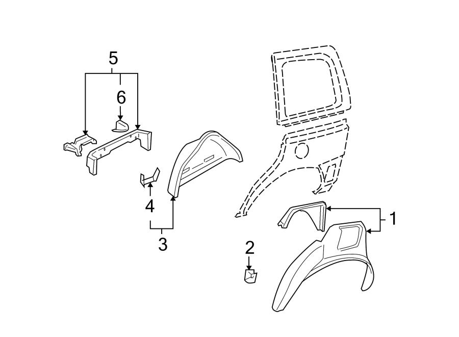 Chevrolet Uplander Wheel Housing Bracket (Rear, Lower