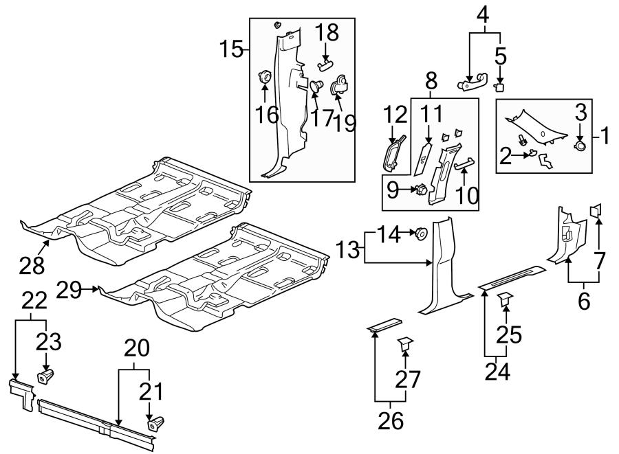 GMC Sierra 1500 Body C-Pillar Trim Panel (Front, Rear