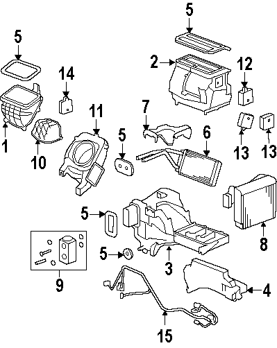 Hummer H3 A/c evaporator core. Evaporator. Core. Assembly
