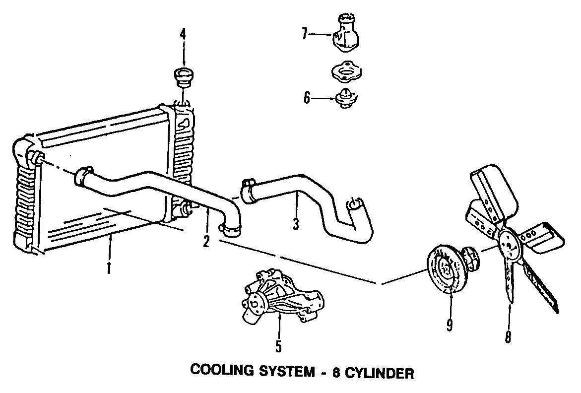 GMC K2500 Radiator Coolant Hose (Upper). 5.0 & 5.7 LITER