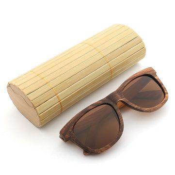 Zebra Wood UV400 Outdoor Polarized Sunglasses Handmade Retro Cycling Sunglasses For Men Women - Coffee