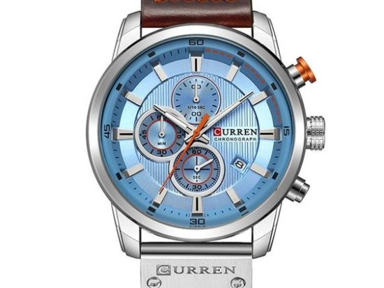 curren chronograph silver blue