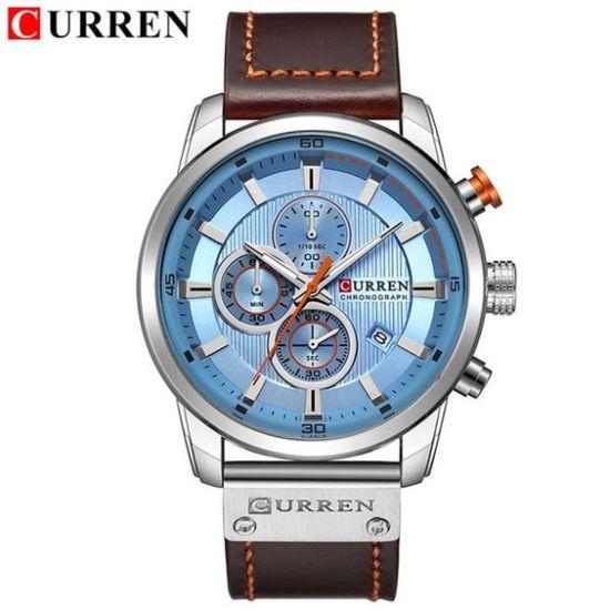 curren chronograph silver blue