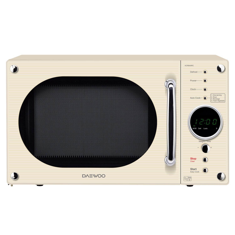 daewoo kor8a9rcr retro 23l microwave oven cream