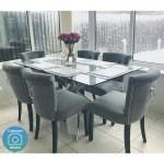 Glass Dining Table With Chrome Base Seats 6 Vida Living Kalmar Buyitdirect Ie