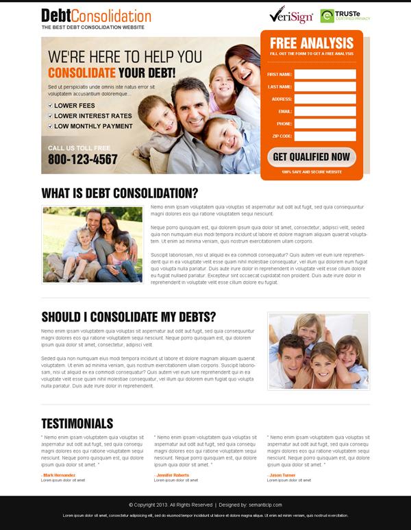 debt landing page design