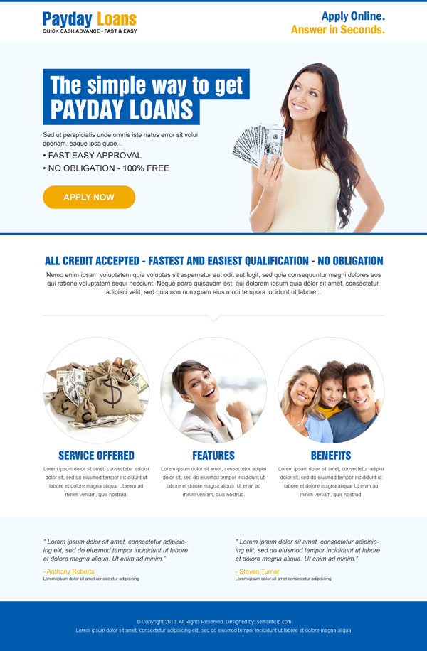 Quick cash in advance payday loan landing page design templates example for your payday loan business from http://www.semanticlp.com/buy-now1.php?p=893