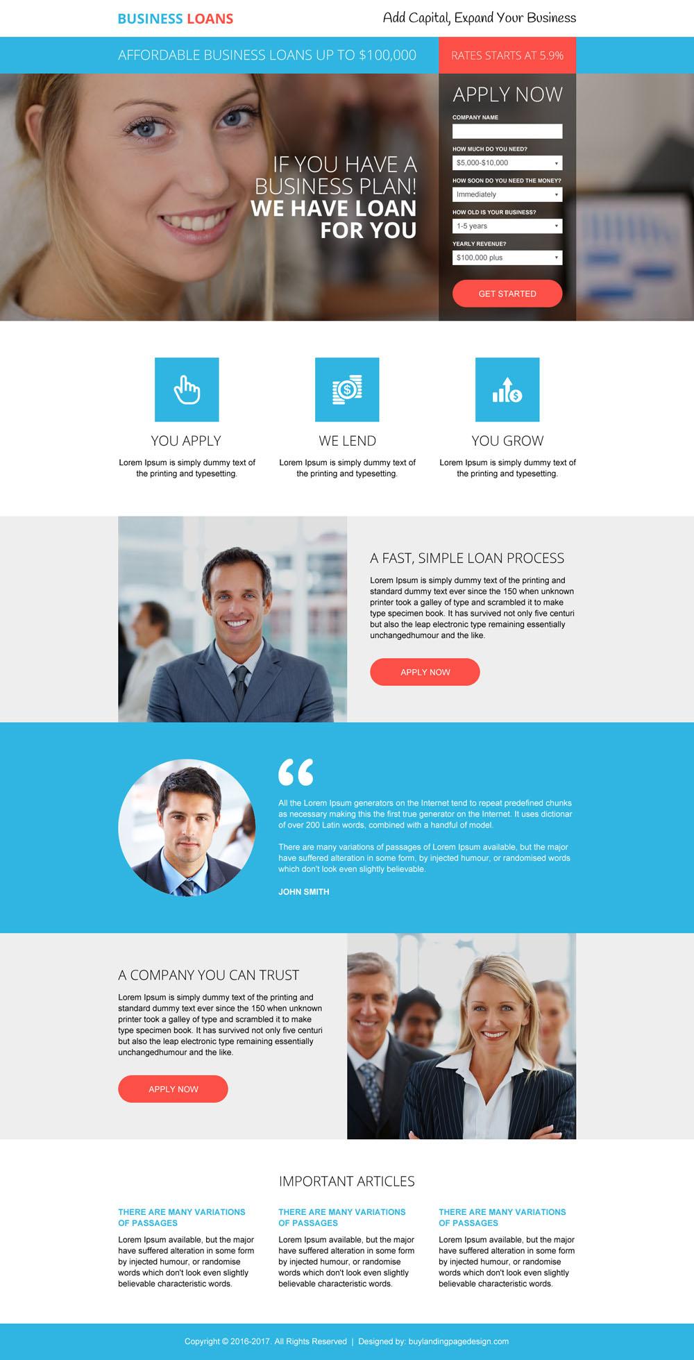 Professional Business Loan Online Application Landing Page Design