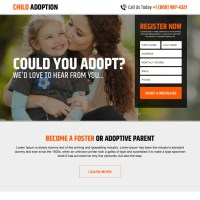 Child and pets adoption responsive landing page designs