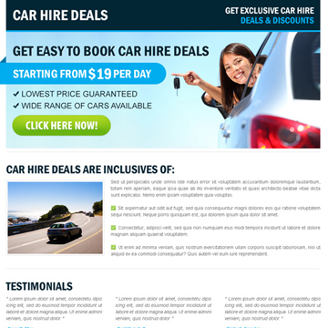 car hire or car rental landing page