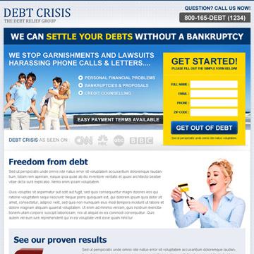debt crisis landing page templates
