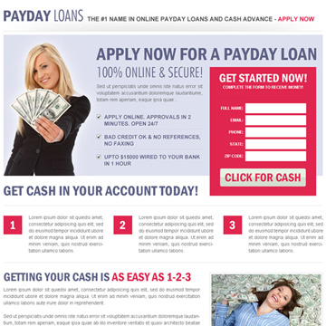get a cash loan landing page design