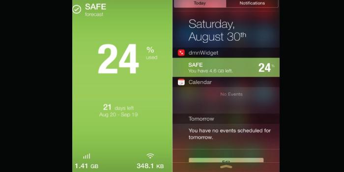 iPhone widget and notification
