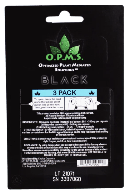 Back of the OPMS Black 3 Count