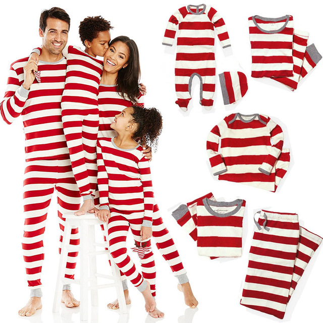 Xmas Striped Family Matching Outfits Set Christmas Family Pajamas Set Adult Kid  Sleepwear Nightwear Pjs Photgraphy Prop Clothing 813711a81