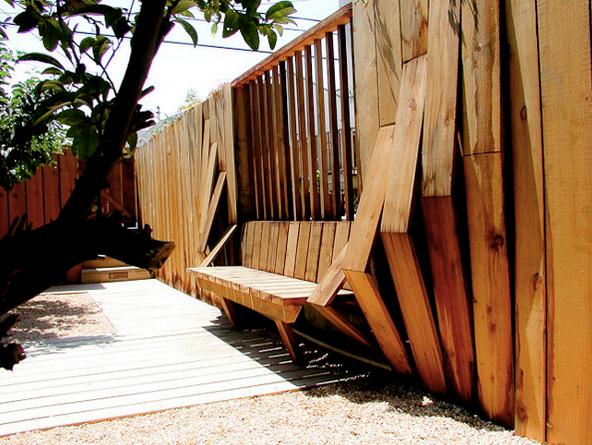 redwood tectonic bench fence
