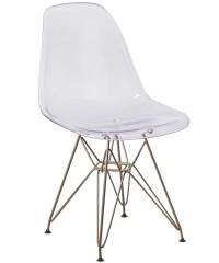 Ghost Reception Chair w/ Gold Metal Base