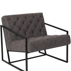 Metal Frame Leather Dining Chair Lazy Boy Recliner And A Half Keane Tufted W