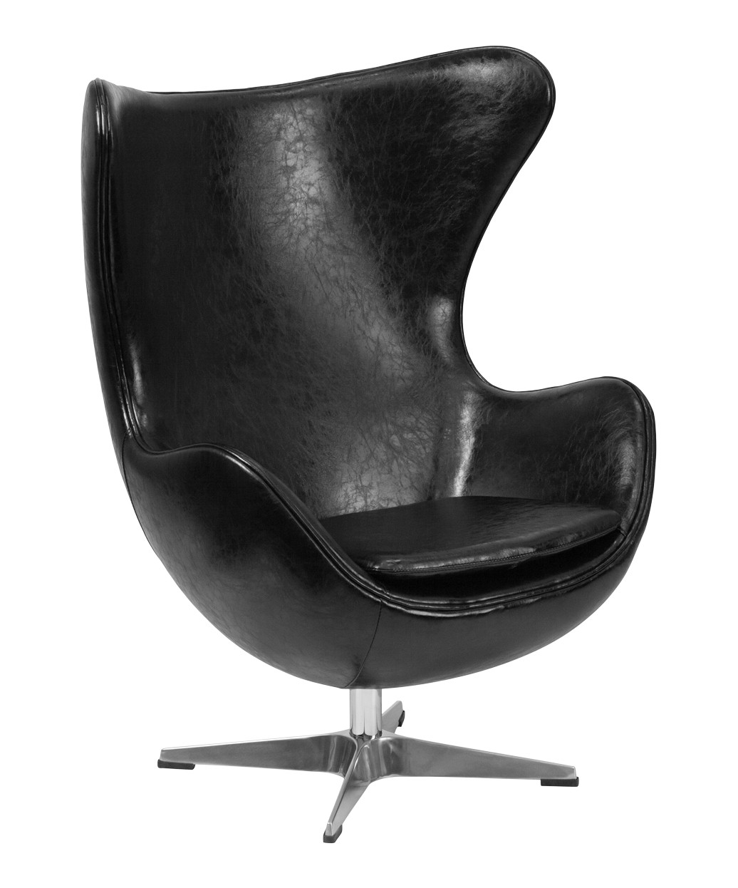 Black Leather Egg Chair With TiltLock Mechanism
