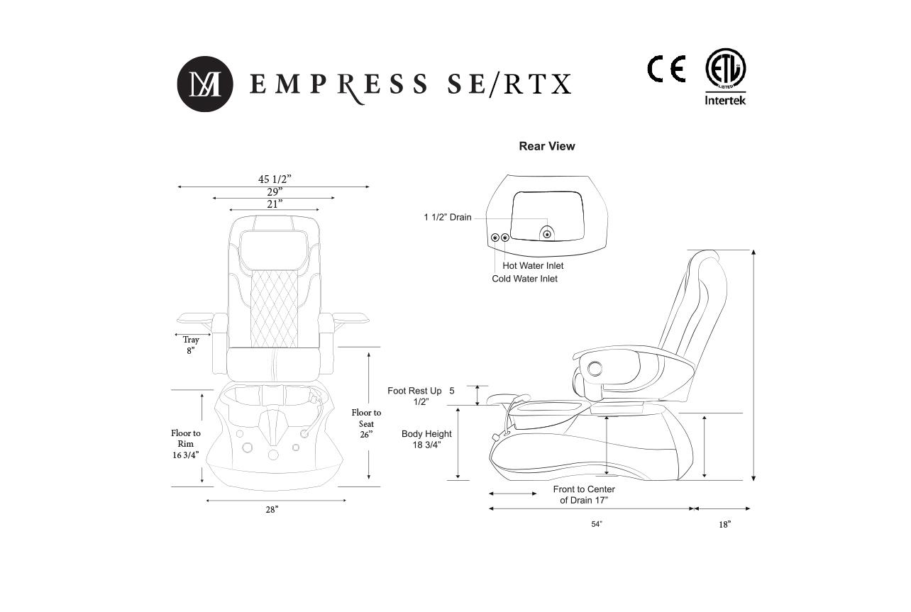 J&A Empress SE Pedicure Spa w/ Glass Bowl