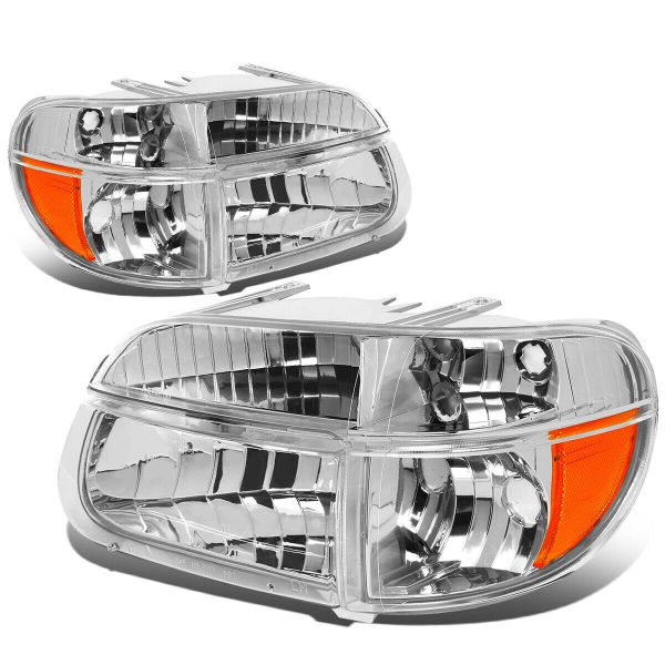Alfa See Ya Gold Diamond Clear Chrome Headlights & Signal Lamps 4 Piece Set (Left & Right)