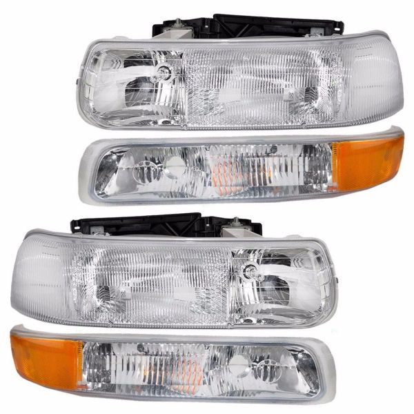 Monaco Camelot Replacement Headlights & Turn Signal Lamps Assembly 4 Piece Set (Left & Right)