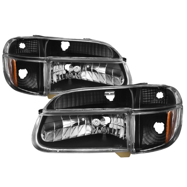 Alfa Founder Diamond Clear Black Headlights & Signal Lamps 4 Piece Set (Left & Right)