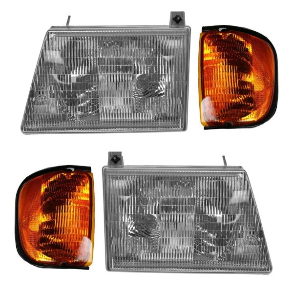 Winnebago Chalet (Class C) Replacement Headlights & Corner Turn Signal Lamps Set (4 Piece Set)