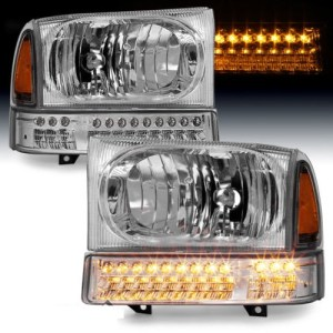 Fleetwood Discovery Chrome Headlights & LED Signal Lamps 4 Piece Set (Left & Right)