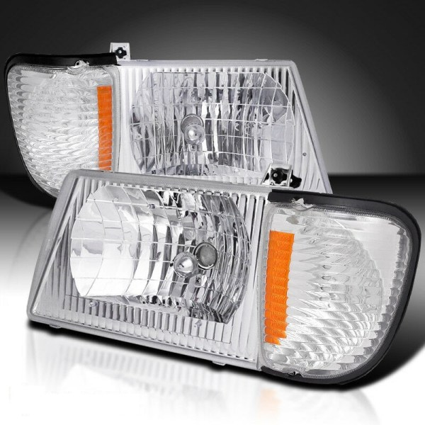 Damon Challenger Diamond Clear Chrome Headlights & Corner Turn Signal Lamps Set (4 Piece Set)