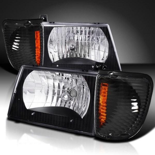 Itasca Sunstar Diamond Clear Black Headlights & Corner Turn Signal Lamps Set (4 Piece Set)